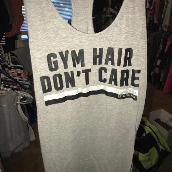 699e6d23 PINK Victoria's Secret Tops | Pink Racerback Grey Gym Hair Dont Care ...